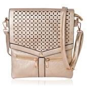 Golden Laser Cut Faux Leather Flap Over Crossbody Bag with Removable Strap (11x9 in)