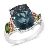 Belgian Teal Fluorite, Russian Diopside, Orissa Rhodolite Garnet 14K YG and Platinum Over Sterling Silver Ring (Size 10.0) TGW 13.55 cts.