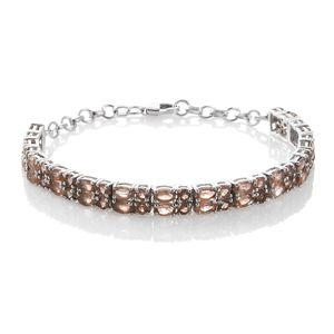Mega Clearance Jenipapo Andalusite Platinum Over Sterling Silver Bracelet (7.50 In) TGW 10.92 cts.