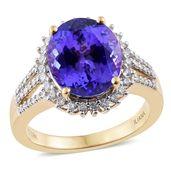 Ankur's Treasure Chest ILIANA 18K YG Premium AAA Tanzanite, Diamond Ring (Size 7.0) TDiaWt 0.32 cts, TGW 5.92 cts.