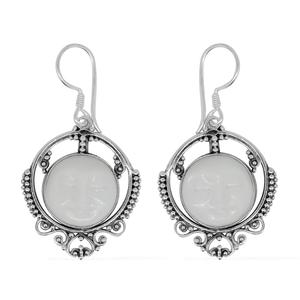 Bali Goddess Collection Carved Bone Sterling Silver Earrings