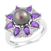 Tahitian Pearl, Amethyst, White Zircon Sterling Silver Daisy Flower Ring (Size 10.0) TGW 1.73 cts.