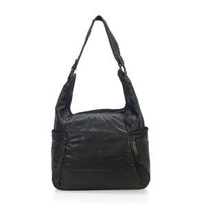 Black Genuine Leather RFID Hobo Bag (10X5X16.5 in)