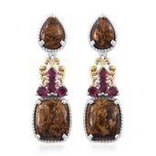Australian Goldflake Feldspar, Orissa Rhodolite Garnet 14K YG and Platinum Over Sterling Silver Earrings TGW 14.66 cts.
