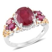 Tony's Collector Show Niassa Ruby 14K YG and Platinum Over Sterling Silver Ring (Size 8.0) TGW 6.82 cts.
