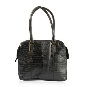 Black Genuine Leather Croco Embossed RFID Triple Compartment Shoulder Bag (18x5.5x11 in) with Removable Strap (42 in)