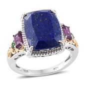 Lapis Lazuli, Orissa Rhodolite Garnet, Russian Diopside 14K YG and Platinum Over Sterling Silver Ring (Size 8.0) TGW 13.58 cts.