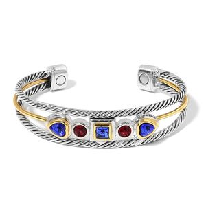 Magnetic Jewelry Red and Blue Glass Dualtone Cuff (7.50 in) TGW 3.00 cts.