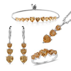 Brazilian Citrine Sterling Silver Bolo Bracelet (Adjustable), Lever Back Earrings, Ring (Size 6) and Pendant With Stainless Steel Chain (20.00 In) TGW 12.10 cts.