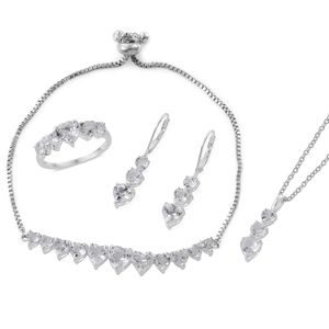 White Topaz Sterling Silver Bolo Bracelet (Adjustable), Lever Back Earrings, Ring (Size 8) and Pendant With Stainless Steel Chain (20.00 In) TGW 15.25 cts.