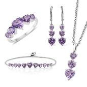 Rose De France Amethyst Sterling Silver Bolo Bracelet (Adjustable), Lever Back Earrings, Ring (Size 6) and Pendant With Stainless Steel Chain (20.00 In) TGW 11.40 cts.