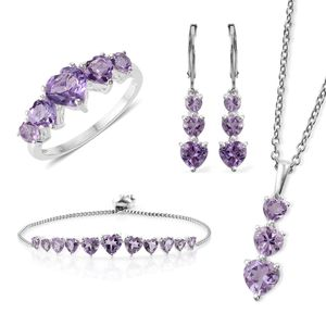 Rose De France Amethyst Sterling Silver Bolo Bracelet (Adjustable), Lever Back Earrings, Ring (Size 9) and Pendant With Stainless Steel Chain (20.00 In) TGW 11.40 cts.