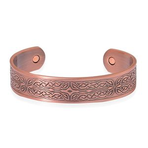 Magnetic Jewelry Rosetone Open Cuff Bangle (7.50 in)