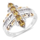 Marialite, White Topaz 14K YG and Platinum Over Sterling Silver Ring (Size 10.0) TGW 1.82 cts.