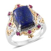 Lapis Lazuli, Ruby 14K YG and Platinum Over Sterling Silver Ring (Size 9.0) TGW 7.88 cts.