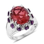 Salmon Quartz, Amethyst Platinum Over Sterling Silver Ring (Size 7.0) TGW 10.80 cts.
