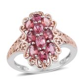 Morro Redondo Pink Tourmaline 14K RG and Platinum Over Sterling Silver Ring (Size 6.0) TGW 2.02 cts.