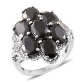 Shungite, Cambodian Zircon Platinum Over Sterling Silver Ring (Size 7.0) TGW 5.41 cts.
