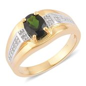 Russian Diopside, White Zircon Platinum and 14K YG Over Sterling Silver Ring (Size 7.0) TGW 1.50 cts.