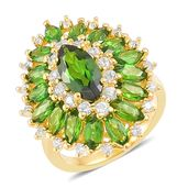 Russian Diopside, White Zircon 14K YG Over Sterling Silver Ring (Size 7.0) TGW 4.35 cts.