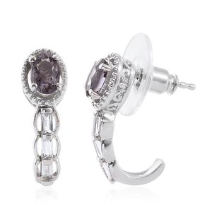 Burmese Lavender Spinel, White Topaz Platinum Over Sterling Silver J-Hoop Earrings TGW 1.57 cts.
