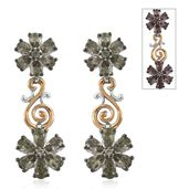 Bekily Color Change Garnet 14K YG and Platinum Over Sterling Silver Floral Dangle Earrings TGW 5.32 cts.