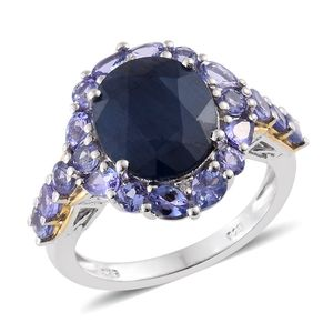 Kanchanaburi Blue Sapphire, Tanzanite, Cambodian Zircon 14K YG and Platinum Over Sterling Silver Ring (Size 7.0) TGW 10.58 cts.