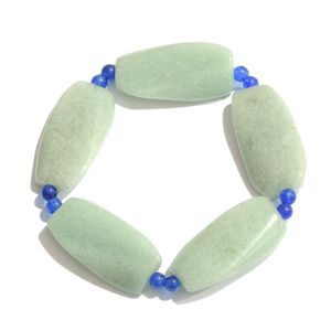 Green Aventurine, Blue Quartzite Bracelet (Stretchable) TGW 158.00 cts.