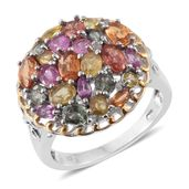 Orange Sapphire, Multi Gemstone, Diamond Accent 14K YG and Platinum Over Sterling Silver Ring (Size 7.0) TGW 4.45 cts.