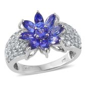 Premium AAA Tanzanite, Cambodian Zircon Platinum Over Sterling Silver Floral Ring (Size 8.0) TGW 4.00 cts.