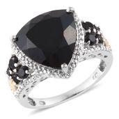 Ankur's Treasure Chest Australian Black Tourmaline, Thai Black Spinel 14K YG and Platinum Over Sterling Silver Elegant Ring (Size 9.0) TGW 11.56 cts.