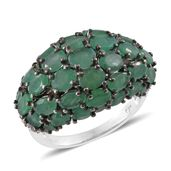 Kagem Zambian Emerald, Cambodian Zircon Platinum Over Sterling Silver Ring (Size 7.0) TGW 8.09 cts.