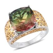 Rainbow Genesis Quartz 14K YG and Platinum Over Sterling Silver Ring (Size 6.0) TGW 11.70 cts.