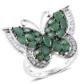 Kagem Zambian Emerald, White Topaz Platinum Over Sterling Silver Butterfly Ring (Size 8.0) TGW 4.86 cts.