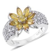 Yellow Sapphire, Cambodian Zircon Platinum Over Sterling Silver Ring (Size 6.0) TGW 4.02 cts.
