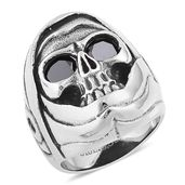 Simulated Black Diamond Black Oxidized Stainless Steel Skull Men's Ring (Size 13.0) TGW 0.80 cts.