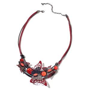 Designer Inspired Red Chroma Dark Silvertone Butterfly Bib Necklace (20 in) TGW 50.00 cts.