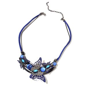 Blue Chroma, Faux Leather Dark Silvertone Butterfly Necklace (20 in)