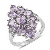 Rose De France Amethyst, Cambodian Zircon Platinum Over Sterling Silver Ring (Size 7.0) TGW 5.00 cts.