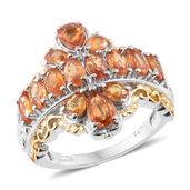 Orange Sapphire 14K YG and Platinum Over Sterling Silver Ring (Size 7.0) TGW 4.08 cts.