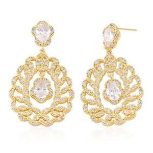 Simulated White Diamond Goldtone Dangle Earrings TGW 15.00 cts.