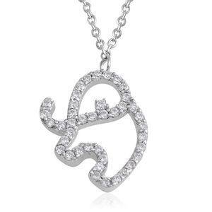 Simulated Diamond Sterling Silver Elephant Necklace (18 in) TGW 0.94 cts.