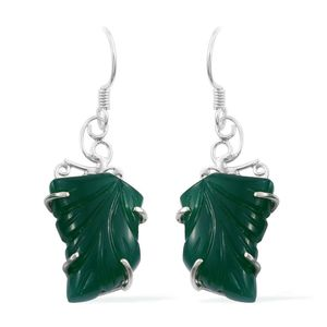 Artisan Crafted Green Onyx Carved Sterling Silver Leaf Earrings TGW 26.94 cts.
