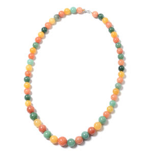 Multi Color Aventurine Beads Sterling Silver Necklace (18 in) TGW 215.00 cts.