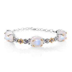 Sri Lankan Rainbow Moonstone, Catalina Iolite 14K YG and Platinum Over Sterling Silver Bracelet (7.50 In) TGW 32.31 cts.