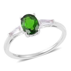 Russian Diopside, White Topaz Sterling Silver Ring (Size 8.0) TGW 1.51 cts.
