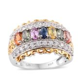 Multi Sapphire, Cambodian Zircon 14K YG and Platinum Over Sterling Silver Ring (Size 6.0) TGW 3.75 cts.