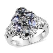Peacock Tanzanite Platinum Over Sterling Silver Ring (Size 7.0) TGW 2.70 cts.