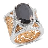 Thai Black Spinel 14K YG and Platinum Over Sterling Silver Ring (Size 8.5) TGW 7.25 cts.