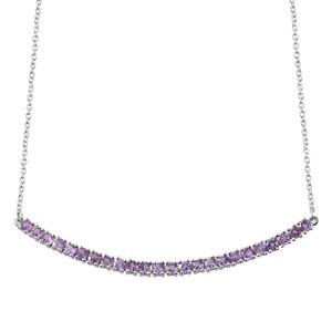 Madagascar Purple Sapphire Platinum Over Sterling Silver Bar Necklace (18 in) TGW 2.77 cts.